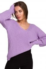 Sweter V- Neck z Szerokim Ściągaczem - Lawendowy