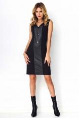 Czarna Minimalistyczna Czarna Sukienka z Panelem z Eko-skóry