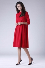Czerwona Oversizowa Casualowa Sukienka z Dekoracyjnym Marszczeniem