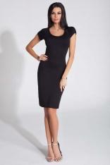 Czarna Sukienka Dopasowana z Odkrytymi Plecami