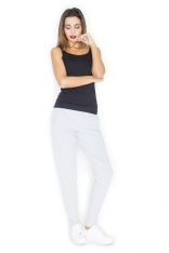 Szare Komfortowe Dresowe Spodnie z Kieszeniami