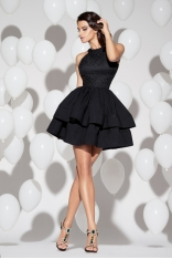 Czarna Sukienka Koktajlowa Mini z Falbankami