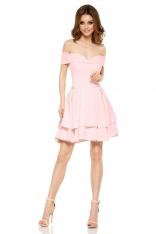 Różowa Elegancka Imprezowa Sukienka z Odkrytymi Ramiona