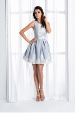 Szaro Biała Mini Sukienka z Koronką