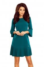 Niebieska Sukienka Wizytowa z Plisowanymi Falbankami