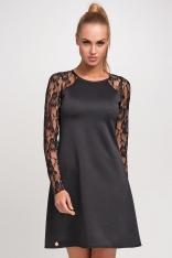 Czarna Wizytowa Trapezowa Sukienka z Długim Koronkowym Rękawem