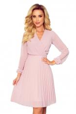 Kopertowa Sukienka z Plisowanym Dołem - Pudrowa