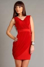 Czerwona Koktajlowa Sukienka z Dekoltem V z Marszczoną Nakładką