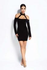 Czarna Sukienka Ołówkowa Mini z Odkrytymi Ramionami