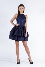 Granatowa Sukienka Wieczorowa Mini z Koronką