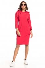 Czerwona Dzianinowa Sukienka z Kapturem