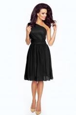 Wieczorowa Czarna Sukienka na Jedno Ramię