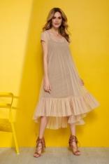 Tiulowa Zwiewna Sukienka z Falbankami - Beżowa