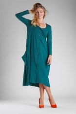 Zielona Dzianinowa Sukienka Midi Zapinana na Guziki