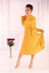 Żółta Plisowana Sukienka z Zabudowanym Dekoltem