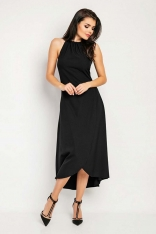 Czarna Wyjściowa Sukienka Asymetryczna z Wiązanym Dekoltem