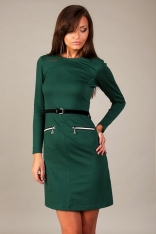 Zielona Prosta Sukienka z Ozdobnymi Suwakami do Pracy
