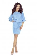 Jasno Niebieska Sukienka z Rozkloszowanymi Rękawkami