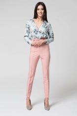 Różowe Eleganckie Spodnie z Wysokim Stanem z Falbanką