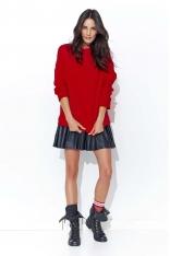 Czerwona Cienka Oversizowa Bluza bez Zapięcia