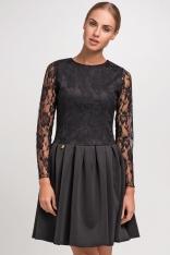 Czarna Elegancka Sukienka z Koronkowym Długim Rękawem