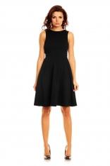 Czarna Elegancka Sukienka przed Kolana Wycięciem na Plecach