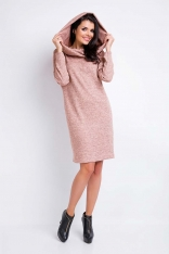 Różowa Sukienka Melanżowa Dzianinowa z Kominem-Kapturem