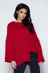 Czerwony  Sweter Asymetryczny z Rozkloszowanymi Rękawami
