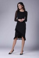 Czarna Wizytowa Sukienka z Kopertowym Dołem z Hiszpańską Falbanką