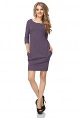 Fioletowa Sukienka z Drapowaniem i Kieszeniami