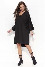 Czarna Oversizowa Sukienka z Szerokim Rękawem Typu Kimono