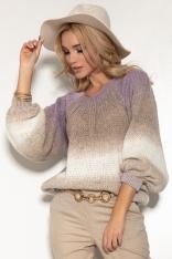 Kolorowy Sweter z Bufiastym Rękawem - Lawendowy