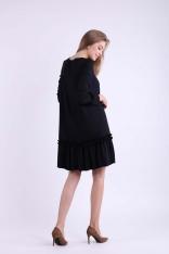 Czarna Subtelna Sukienka z Obniżoną Talią