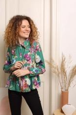 Koszulowa Bluzka z Falbanką - Kwiaty