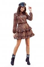 Zwiewna Sukienka z Falbankami w Panterkę