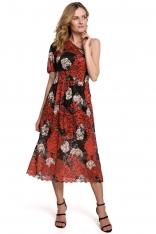 Rozkloszowana Koronkowa Sukienka na Jedno Ramię