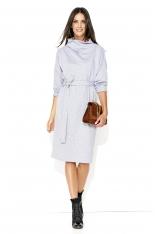 Szara Kimonowa Midi Sukienka z Golfem