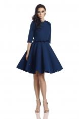 Granatowa Klasyczna Rozkloszowana Sukienka z Falbankami
