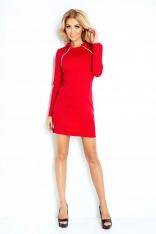 Czerwona Sukienka Ołówkowa z Kołnierzykiem i Ozdobnymi Suwakami