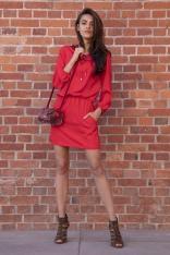 Czerwona Codzienna Komfortowa Sukienka Sznurowana przy Dekolcie