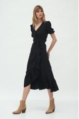 Zwiewna Sukienka Kopertowa z Bufkami - Czarna