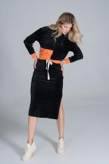 Dwukolorowy Welurowy Komplet Bluza + Spódnica - Czarny