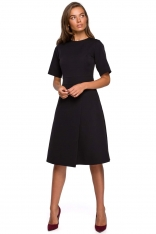 Sukienka z Kopertowym Dołem - Czarna