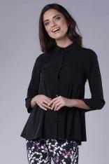 Czarna Koszulowa Bluzka z Efektownym Wykończeniem