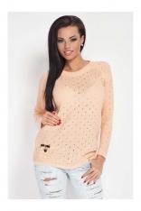 Kobiecy Morelowy Sweter w Dziurki