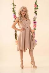 Asymetryczna Sukienka z Falbankami i Guzikami - Beżowa
