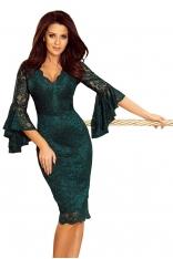 Zielona Wieczorowa Sukienka Koronkowa z Hiszpańskim Rękawem