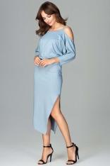 Niebieska Asymetryczna Sukienka z Kimonowym Rękawem