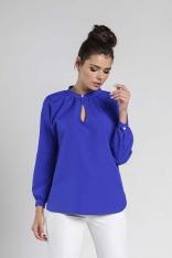 Kobaltowa Koszulowa Bluzka z Wycięciem w Łezkę