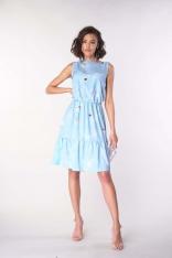 Sukienka bez Rękawów z Falbankami - Błękitna